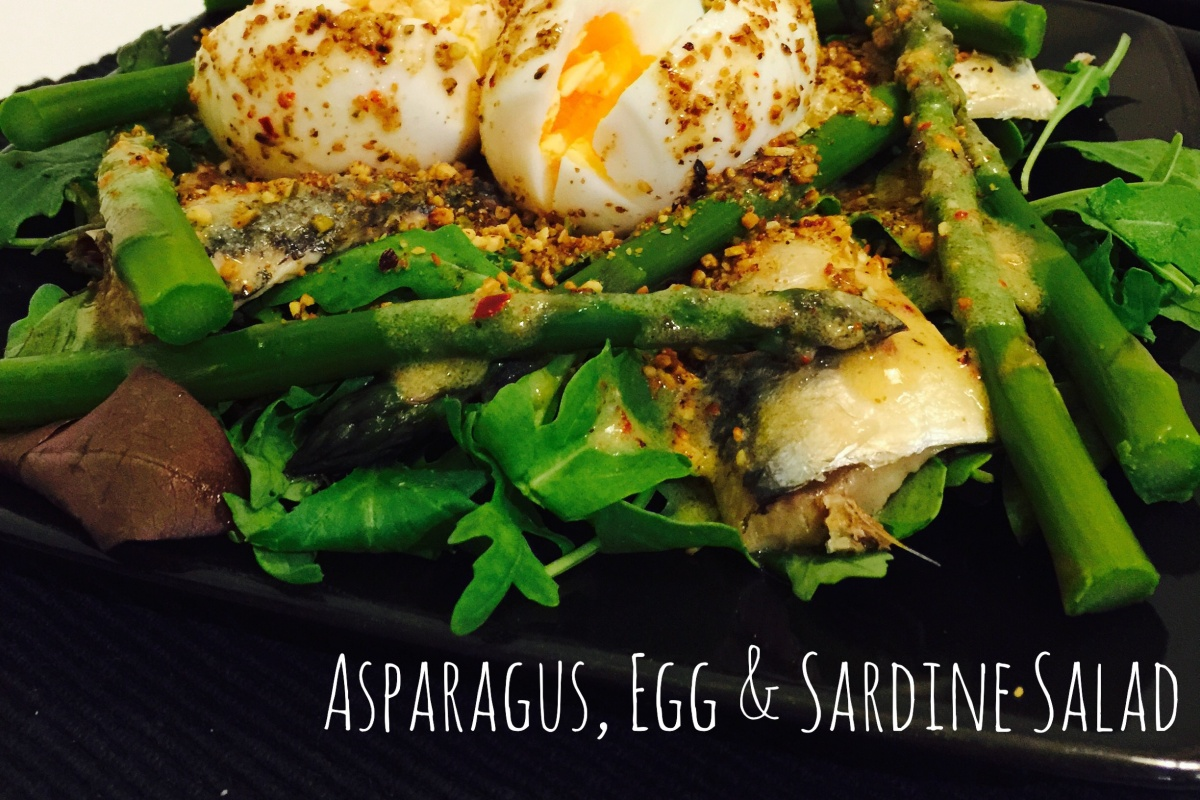 Asparagus, egg & sardine salad